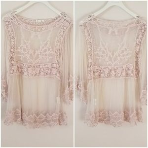 Taylor & Sage | Lace Sheer Blouse [Tops]